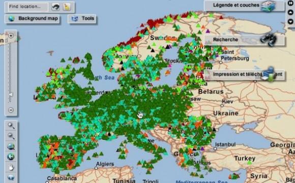 Mappa europea dell'inquinamento