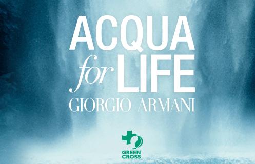 Acqua For Life, iniziativa benefica di Armani