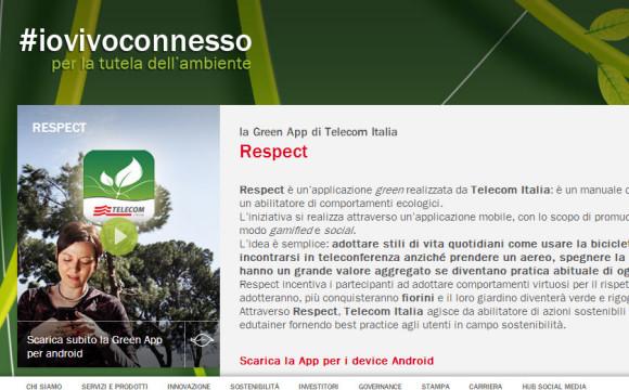 L'app Respect di Telecom per promuovere l'ecosostenibilità
